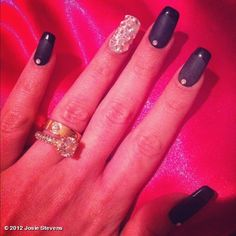 New nails :) matte black w/glossy black french tips & jewels!