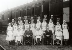 St. John Ambulance men and British Red Cross women manning a hospital train WWI