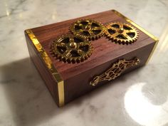 Here's a useful item from iGearz Steampunk, it's an 8GB USB Flashdrive. The wooden outer case has 3 gears that you can spin, and 2 stamped brass decorations on the sides. Inside there's red felt lining, and a small wood 8GB flash drive with trim. A great way to move those steampunk files.
