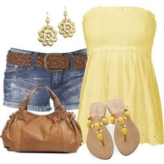 jean shorts and yellow tube top by missyalexandra on Polyvore