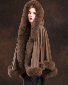 Fox Trimmed Cashmere Cape with Hood Cashmere Cape, Fur Accessories, Fur Fashion, Fur Jacket, Fur Trim, Coats For Women, Furs, Jackets, Fur Coats