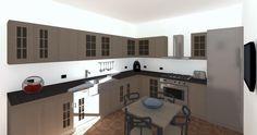 TOTAL RENDERING di fabbricato bifamiliare di prossima realizzazione - vista interna cucina