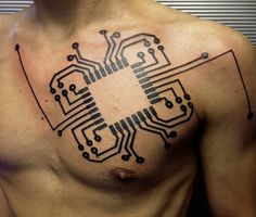 Computer Chip Circuit Computer Geek Tattoo On Chest