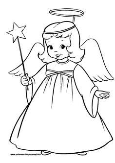 dibujos para colorear DE NAVIDAD | dibujo-de-angel-de-navidad-para-colorear1.gif