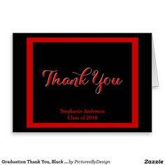 Graduation Thank You, Black & Red Personalized Stationery Note Card