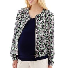 Maternity Print Bomber Jacket Blue ($24) ❤ liked on Polyvore featuring plus size