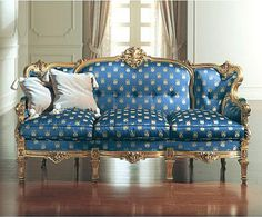 Victorian Ulysse Blue 3 seater Sofa | Victorian Furniture...an elegant beauty any day any time!