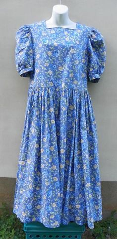 Laura Ashley Periwinkle Blue Floral Cotton Drop Waist Short Sleeve Dress sz 8-10