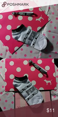 💕VS PINK No-Show Socks💕 💕VS PINK No-Show socks, white and black. Great deal right here! This includes 1 pair of socks, 1 hair tie and VS packaging. Ready to go gift! Take advantage of my closet clean out clearance sale. Every purchase receives a free 🎁! Price firm PINK Accessories
