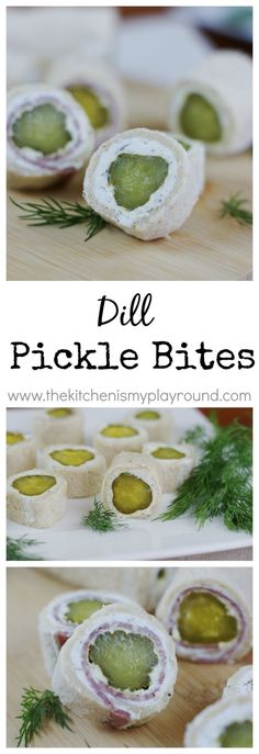 Pickle Bites ~ the crunch and zing of dill pickles in a tasty little bite. Dill Pickle Bites ~ the crunch and zing of dill pickles in a tasty little bite. Finger Food Appetizers, Yummy Appetizers, Appetizers For Party, Appetizer Recipes, Snack Recipes, Sandwich Appetizers, Sandwiches, Tapas Recipes, Crab Recipes