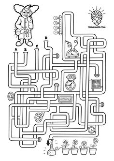 Laboratory Maze to print Mazes For Kids, Activities For Kids, 3rd Grade Games, Employee Goals, Printable Mazes, Islam For Kids, Team Building Activities, Printed Pages, Busy Book