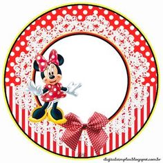 """Kit Custom Theme Birthday """"Minnie Red"""" for Printing - Invitations Digital Simple Minnie Mouse Stickers, Mickey Minnie Mouse, Mickey Mouse Clubhouse Party, Mickey Mouse Birthday, Kids Labels, Mickey Mouse And Friends, Disney Scrapbook, Party Items, Banner"""