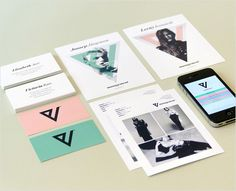 Branding, Visual ID, Logo, print media, V Management, model agency, by AKU Collective