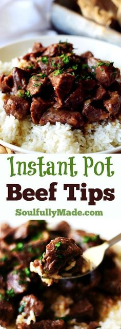 Instant Pot Beef Tips by Soulfully Made - Instant Pot Beef Tips are pressure cooked in a rich delicious gravy to create melt in your mouth beef. It is filling and full of hearty flavor ya'll! Southern food at it's finest. #soulfullymade #beeftips #instantpot #pressurecooker