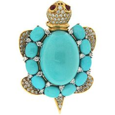 Preowned Turquoise Diamond Gold Platinum Turtle Brooch