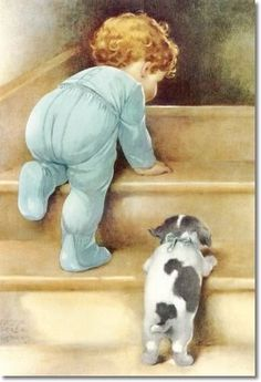Bessie Pease Gutmann - Peter and Jake Head Upstairs to Bed as Papa Says Nitey-nite