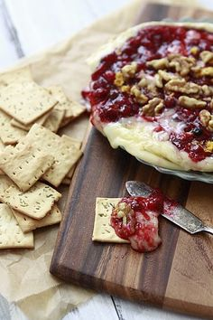 baked brie with cranberry sauce and walnuts. Good holiday appetizer.