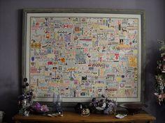 Huge cross stitch `Family Sampler´, 200 colors, antique & modern designs, unique arrangement & free-style work, the design is like a personal `family tree´ (5,600 working hours) - used also as example for my workshops - la-couronne.de/