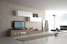 Conjunto de Muebles de Salón en blanco y marrón claro