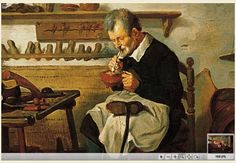 Close-up of the man lighting a pipe from a brazier, 'The Shoemaker'