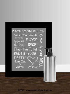 Bathroom Decor, Bathroom Art Prints, Bathroom Rules, Kids Bathroom Wall Quotes, Wash Brush Floss Flush, Typography