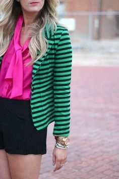#cuteoutfit #style #fashion #girly #stripes #pink #shorts #blazer #classis #classy