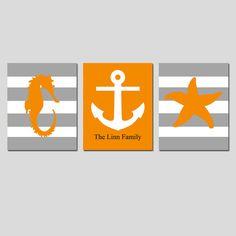 Beach Stripe Nautical Trio - Set of Three 8x10 Prints - Starfish, Seahorse, Anchor, Monogram - Home Decor - Choose Your Colors on Etsy, $55.00