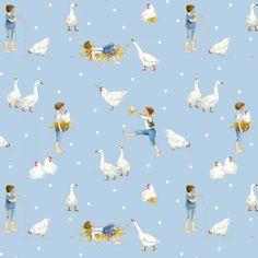 21 EUR/Meter acufactum Fabric Country Life Blue by Daniela Drescher, weave cotton, children's fabric