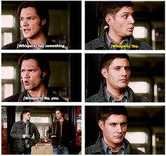 6x17 My Heart Will Go On [gifs] - Dean finally beats Sam at Rock, Paper, Scissors. Look how proud he is in the last frame!