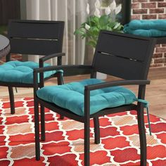 Indoor/Outdoor Dining Chair Cushion (Set of by Andover Mills Outdoor Rocking Chair Cushions, Custom Outdoor Cushions, Lounge Cushions, Outdoor Dining Chair Cushions, Fabric Dining Chairs, Arm Chairs, Blue Chairs, Diy Chair, Metal Chairs