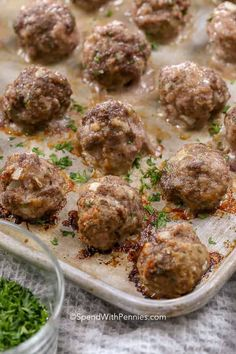 is is a favorite Italian meatball recipe with lean beef, ground pork, Italian seasoning and a bit of parmesan cheese create the perfect meatball. Add these to pasta, casseroles or soups! Italian Sausage Meatballs, Beef And Pork Meatballs, Beef Meatball Recipe, Jelly Meatballs, Meatball Casserole, Meatball Bake, Mince Recipes, Pork Recipes, Appetizer Recipes
