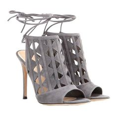 Gianvito Rossi Maxine Cut-Out Suede Sandals $1,230 http://MYTHERESA.COM My... ❤ liked on Polyvore featuring shoes, sandals, cut out sandals, suede sandals, cut-out shoes, women shoes and suede shoes
