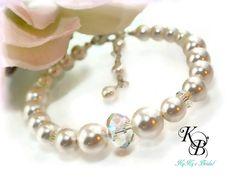 Bridal Bracelet, Bridal Jewelry, Wedding Jewelry, Pearl Bracelet, Swarovski, Bridal Gift, Bride, Wedding, Infinity, Bridal Shower Gift | KyKy's Bridal, Handmade Bridal Jewelry, Wedding Jewelry