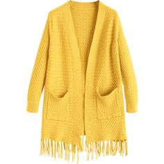 Fringed Open Cardigan With Pockets Yellow ($30) ❤ liked on Polyvore featuring tops, cardigans, open cardigan, yellow cardigan, fringe cardigans, yellow top and pocket tops