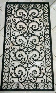 Rug as a stencil Wrought Iron Decor, Wrought Iron Gates, Iron Windows, Iron Doors, Window Grill Design, Door Design, Window Bars, Iron Gate Design, Metal Gates