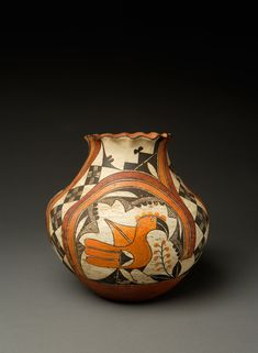 Acoma 4 colored jar with birds and fluted or pie crust rim c. 1890