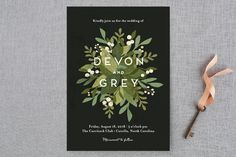"""Laurel of Greens"" - Floral & Botanical, Rustic Wedding Invitations in Midnight by Jennifer Wick."