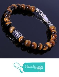 Amazon Handmade Men and Women Bracelet with 6mm Brown Tiger Eye Beads and Genuine 925 Sterling Silver Spacers, Clasp & Fleur de Lis Bead from DiyNotion http://www.amazon.com/dp/B016Y2OYA4/ref=hnd_sw_r_pi_dp_NhEmxb1G8MPQQ #handmadeatamazon