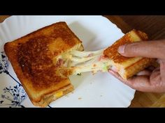 Easy & Quick Cooking Recipes - How To Make Cheese Burst Sandwich - ASMR Cooking Sounds (Satisfying) ---- Ingredients: - 4 Bread Slices - Mayonnaise - Butter(. Pizza Sandwich, Sandwich Recipes, Bread Recipes, Bread Pizza, Snack Recipes, Cooking Recipes, Pizza Pizza, Breakfast Recipes, How To Make Pizza