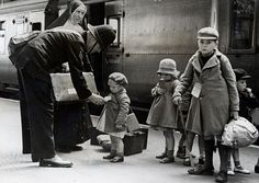 Children evacuate London by train during the Battle of Britain