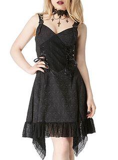 Steampunk clothing, Deadly Damsel Gothic Brocade Dress $79.00 AT vintagedancer.com