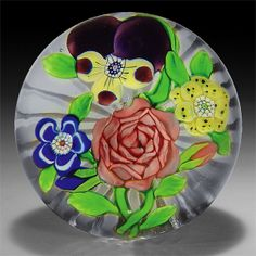 Rare antique Baccarat four-flower bouquet paperweight.