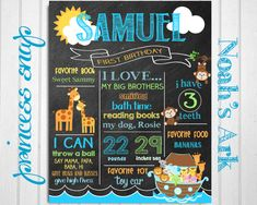 First Birthday Chalkboard Poster Sign - Noah's Ark - Printable - Digital File JPG - Baby's First Birthday