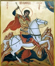 The story of St George and the Dragon - Speak English Religious Icons, Religious Art, Famous Freemasons, Saint George And The Dragon, St Georges Day, Byzantine Icons, Knights Templar, Orthodox Icons, Art For Art Sake