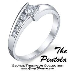 The Pentola  #MR #113-14983    The Pentola -.14ct round brilliant cut center diamond with .23cts of round brilliants on the side set in 14kt white gold.  http://www.georgethompson.com/engagement-rings/the-pentola.html#