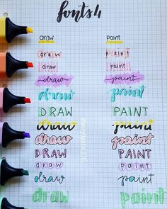Different Fonts with Highlighter - - lettering hand lettering calligraphy brush lettering tutorial art drawing handlettering леттеринг за 5 минут how to markers diy letter Bullet Journal Titles, Journal Fonts, Bullet Journal Aesthetic, Bullet Journal Inspiration, Tittle Ideas, Pretty Notes, Lettering Tutorial, School Notes, Study Notes