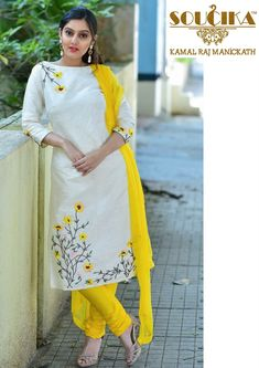 Best 11 Colors & Crafts Boutique™ offers unique apparel and jewelry to women who value versatility, style and comfort. We specialize in customized attires crafted in high quality fabric and craftsmanship. Please note: These are not our designs. Embroidery Suits Punjabi, Embroidery On Kurtis, Hand Embroidery Dress, Kurti Embroidery Design, Embroidered Clothes, Salwar Pattern, Kurti Patterns, Hand Painted Dress, Mode Abaya