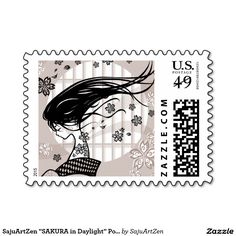 "SajuArtZen ""SAKURA in Daylight"" Postage Stamp"