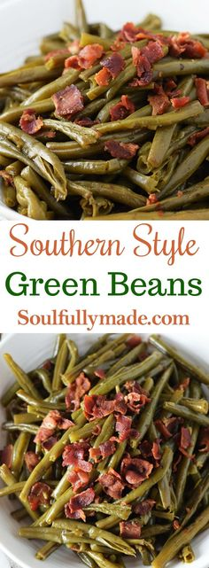 Southern Style Green Beans are made with fresh green beans cooked low and slow flavored with salty bacon. This traditional southern side is served on just about every table in the south! #greenbeans @southernstylegreenbeans