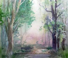 Watercolor Hans-jakob Bopp, Aquarell, Waldmotiv